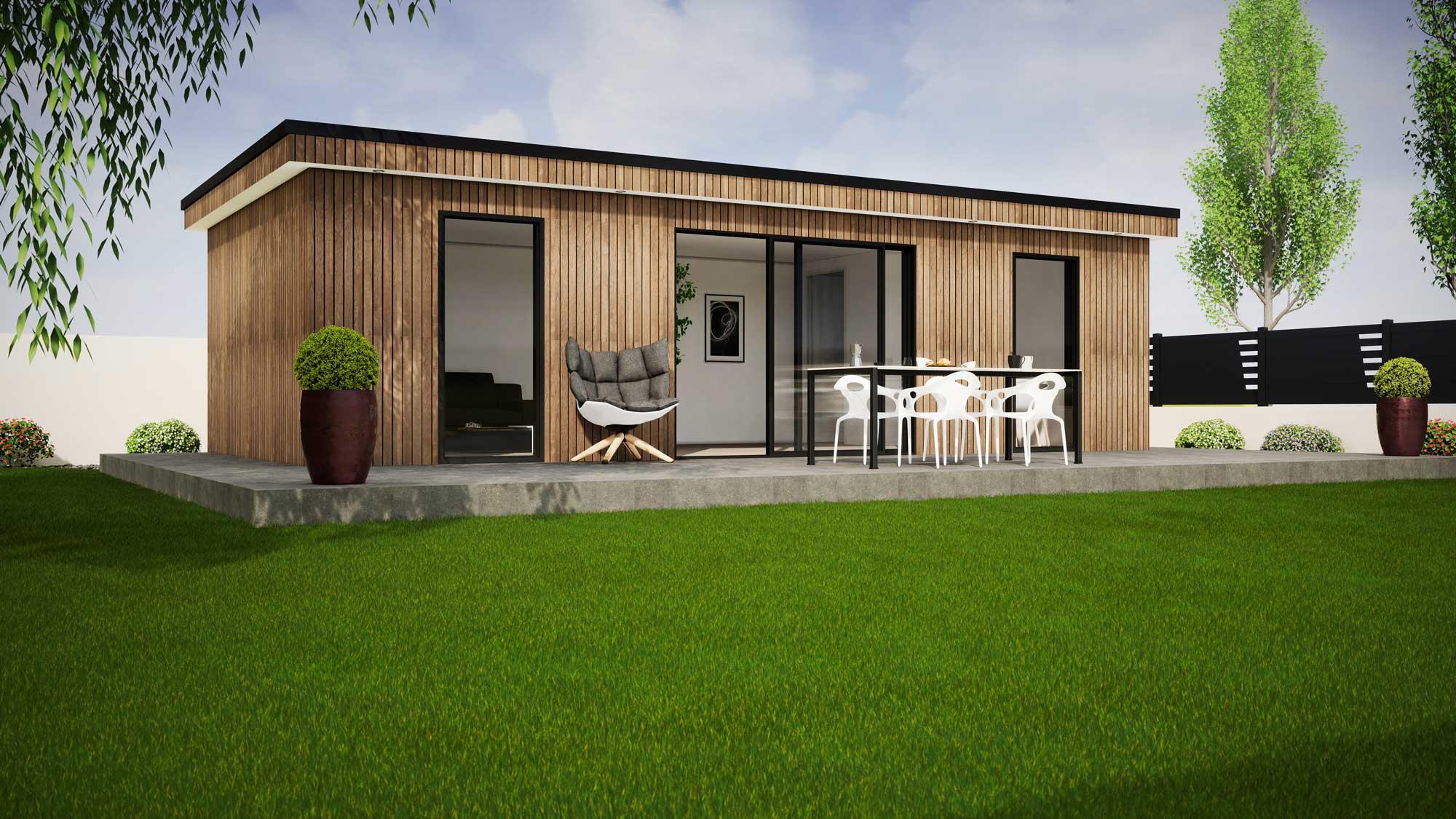 Maison modulaire 3D lumineuse avec terrasse