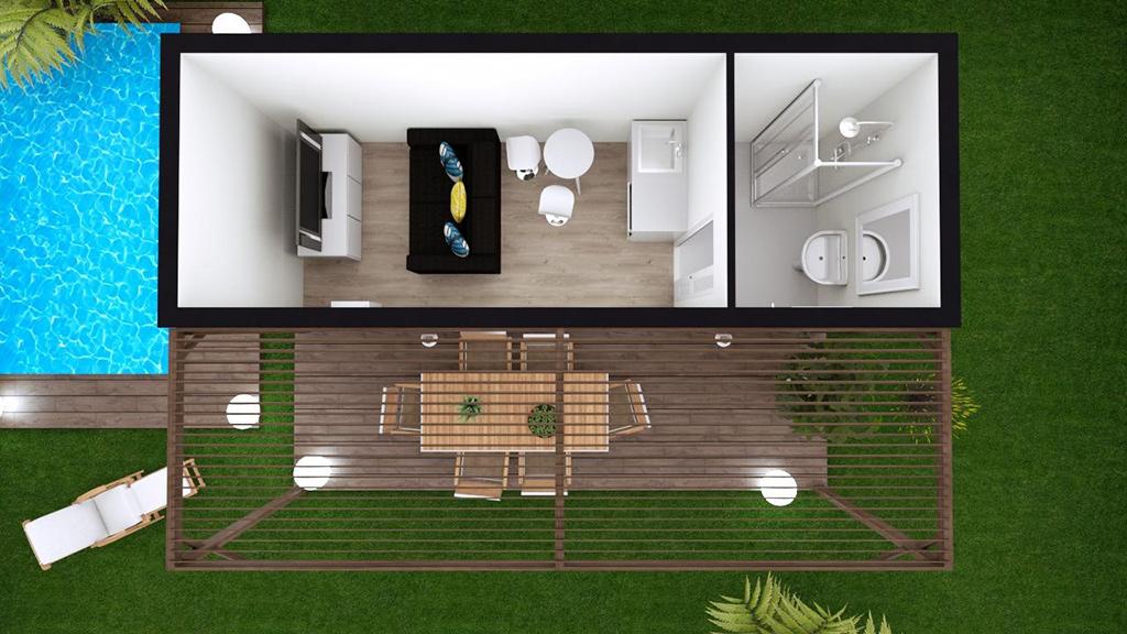 Vue 3D de dessus d'une maison modulaire avec une salle de bain et une pièce de vie donnant sur une terrasse moderne avec pergola