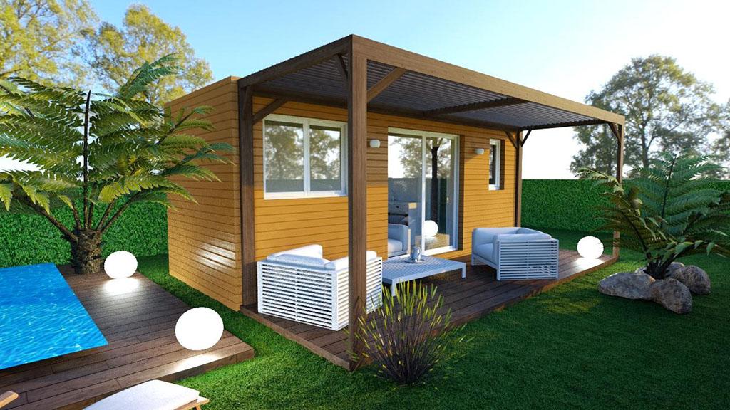 Maison modulaire de 16m² avec terrasse et pergola en bois