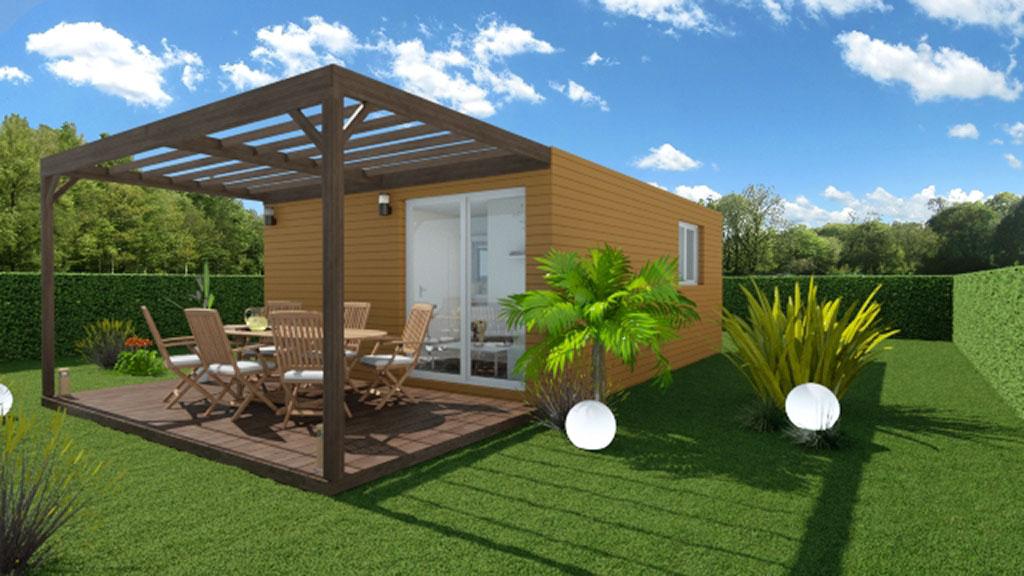 Vue 3D d'une maison modulaire de 32m² avec terrasse et pergola en bois