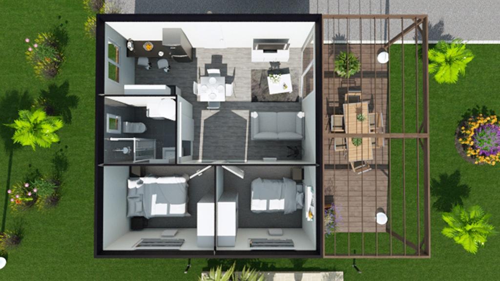 Vue de dessus 3D d'une maison modulaire de 50m² comprenant deux chambres, une salle de bain et une pièce de vie donnant sur terrasse en bois