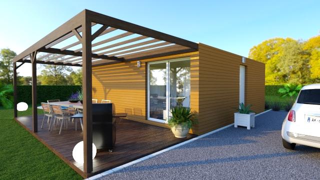 Vue 3D d'une maison modulaire avec terrasse et pergola en bois