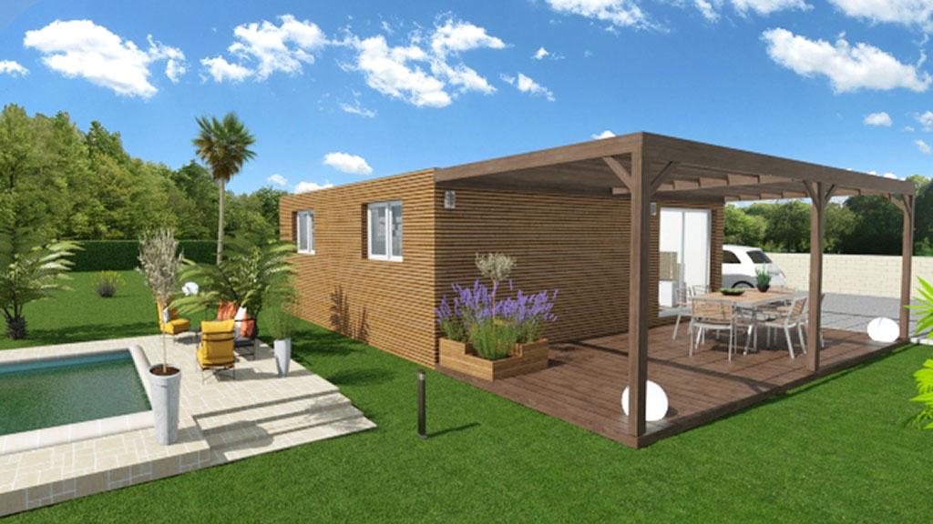 Vue 3D d'une maison modulaire de 50m² avec terrasse et pergola en bois