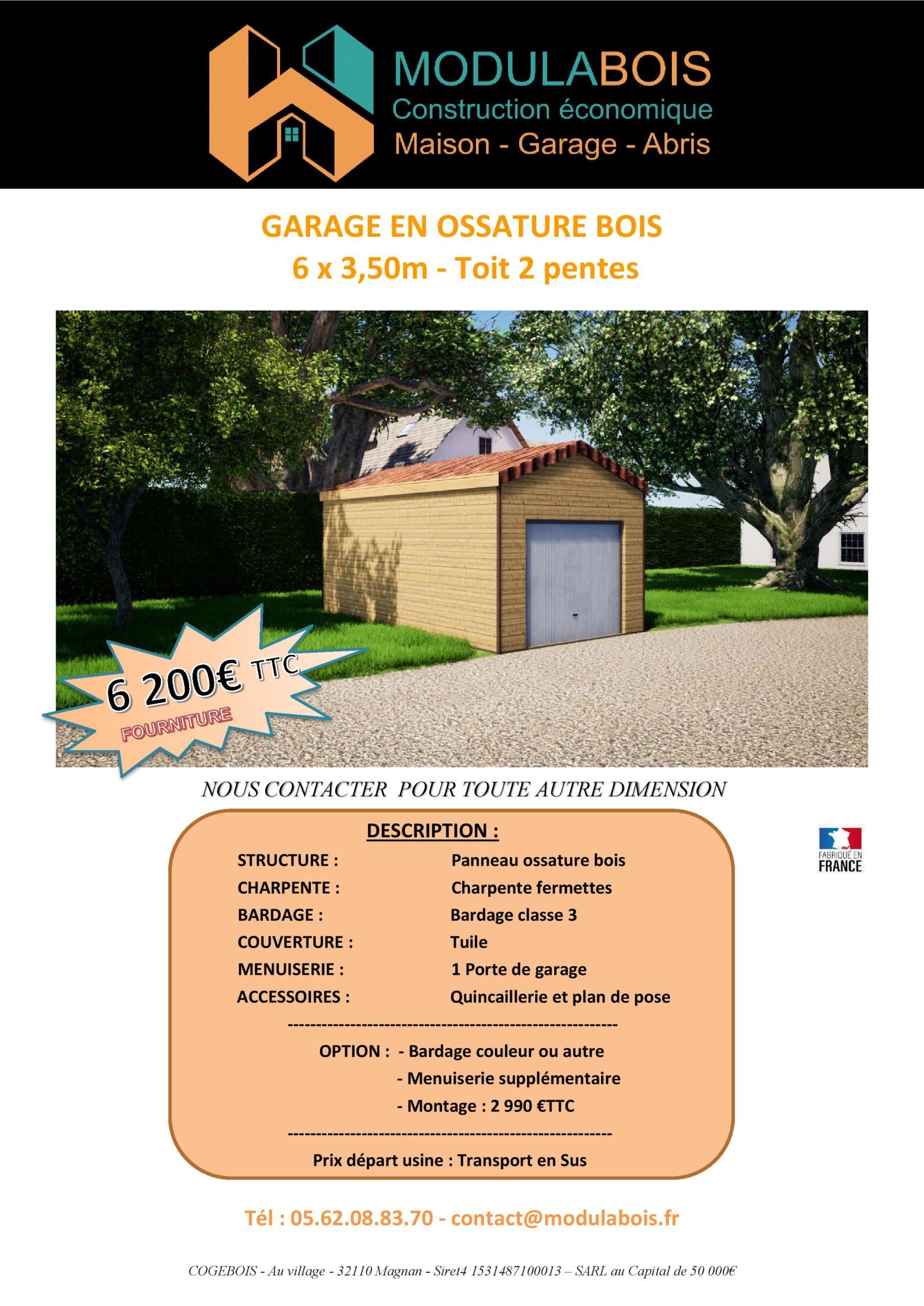 Garage en ossature bois, toit en tuile double pentes, 21m²_ 6200€ ttc