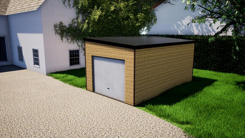 Garage ossature bois 21m² - toit mono pente bac acier _ 1 porte de garage _ 5450€ ttc