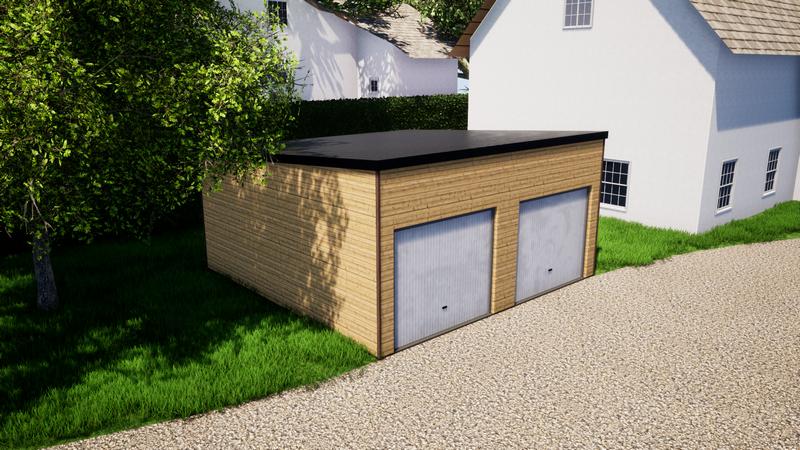 Garage en ossature bois, toit en bac acier, double porte de garage, 36m²_ 7500€ ttc