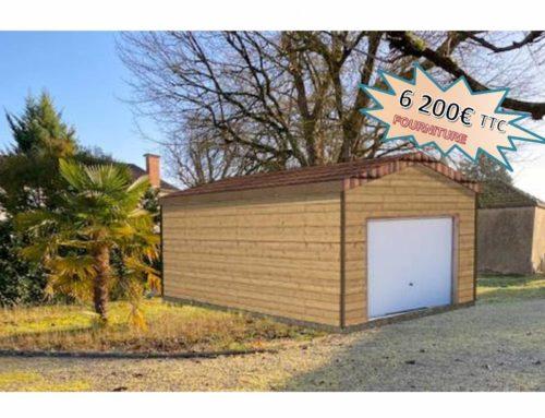 Garage en ossature bois – 21m² – Toit double pentes – Pau (64)