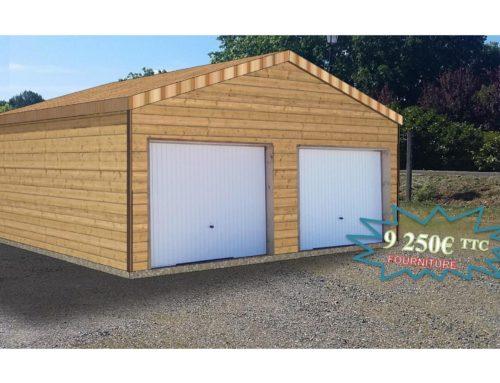 Garage ossature bois – 36m² – toit 2 pentes – secteur Tarbes (65)